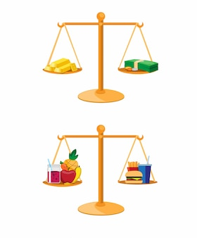 Pieniężna inwestycja i zdrowy jedzenie w balansowej porównanie kolekci ustawiamy ilustracyjnego wektor
