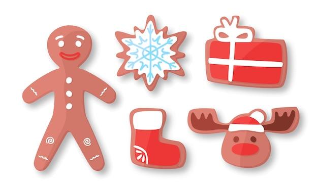 Piernik świąteczna kolekcja wektorów, piernikowy chleb świąteczny symbol kreskówka płaski styl ilustracji