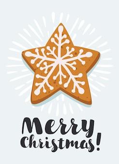 Piernik świąteczny w kształcie gwiazdy na białym tle