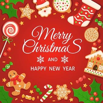 Piernik tło. wesołych świąt i szczęśliwego nowego roku czerwony kolorowy plakat z piernikami, cukierkami z trzciny cukrowej i lizakiem, prezentami i zimowym wystrojem, pocztówka świąteczna wektor grudnia lub baner z tekstem