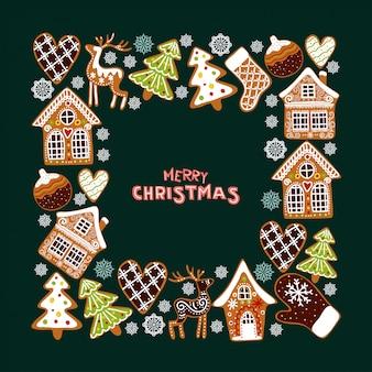 Piernikowe ciasteczka tło ramki. szablon kartki świąteczne pozdrowienia.