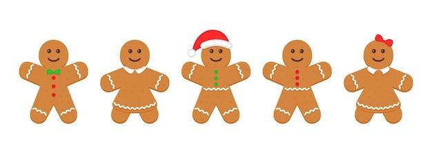 Piernikowy ludzik. klasyczne ciasteczka świąteczne. ciastko bożonarodzeniowe na białym tle