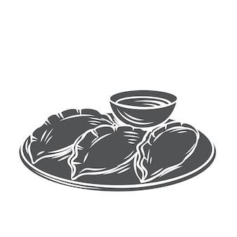 Pierogi kuchnia chińska glif ikona monochromatyczne