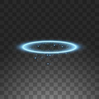 Pierścień anioła z niebieskim aureolą. na czarnym przezroczystym tle, ilustracja.