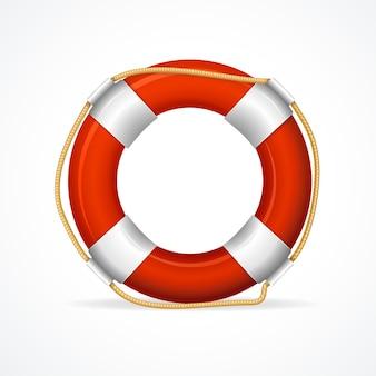 Pierścień boi ratunkowej czerwony. symbol ratowania życia.