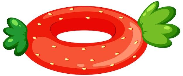 Pierścień pływacki z truskawką na białym tle
