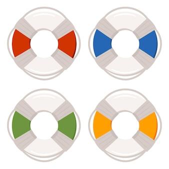 Pierścień Ratunkowy Do Basenów Zestaw Ikon Na Białym Tle Premium Wektorów