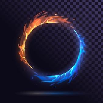 Pierścień z niebieskim i czerwonym ogniem