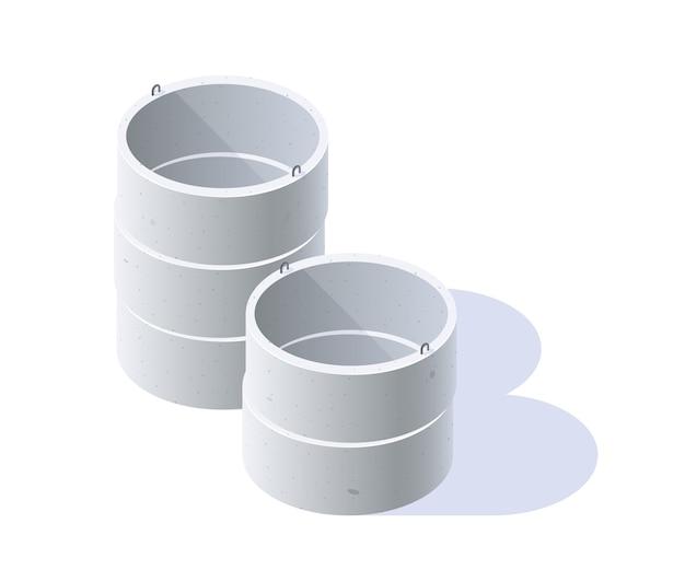 Pierścienie betonowe do studni, kanalizacji, szamba. izometryczna ikona materiałów budowlanych. na białym tle na białym tle w stylu płaski.