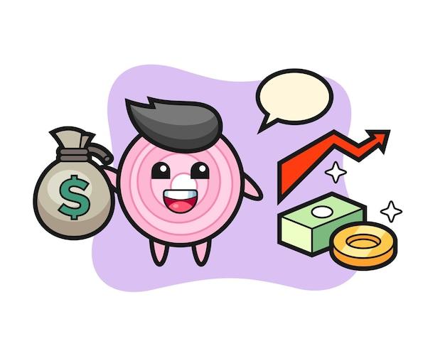Pierścienie cebuli ilustracja kreskówka trzymając worek pieniędzy, ładny styl na koszulkę, naklejkę, element logo