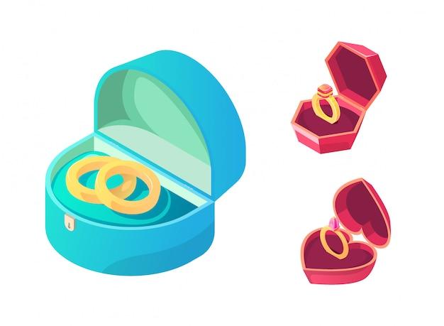 Pierścienie na ślub i zaręczyny w różnych pudełkach