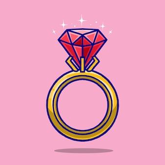 Pierścionek diament kreskówka na białym tle na różowym tle.