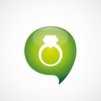 Pierścionek ikona zielony myśleć logo symbol bańki, izolowana na białym tle