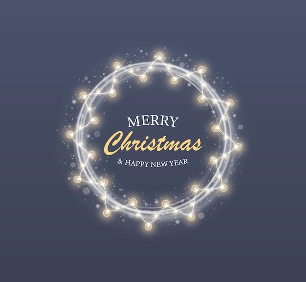 Pierścionek z białym światłem i girlandy na świąteczną kartkę świąteczną