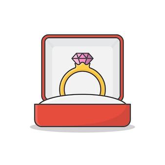 Pierścionek zaręczynowy z brylantem w polu wektor ikona ilustracja. ślubny złoty pierścionek w pudełku na prezent płaski ikona