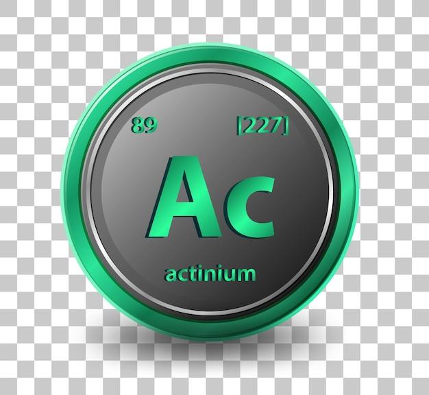 Pierwiastek chemiczny aktyn. symbol chemiczny z liczbą atomową i masą atomową.