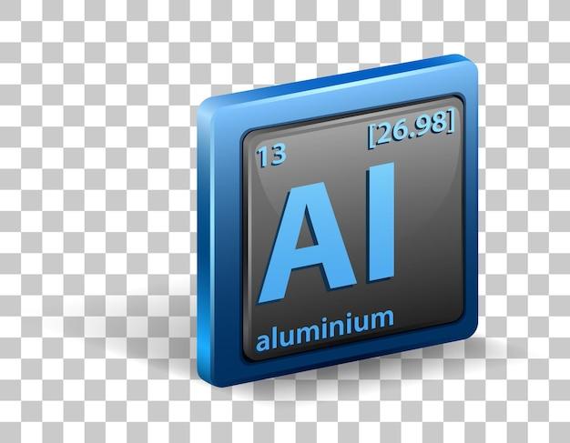 Pierwiastek chemiczny aluminium. symbol chemiczny z liczbą atomową i masą atomową.
