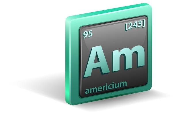Pierwiastek chemiczny ameryku. symbol chemiczny z liczbą atomową i masą atomową.