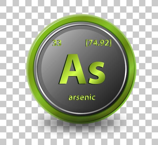 Pierwiastek chemiczny arsenu. symbol chemiczny z liczbą atomową i masą atomową.