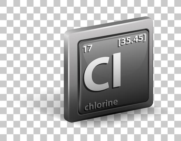 Pierwiastek chemiczny chloru. symbol chemiczny z liczbą atomową i masą atomową.