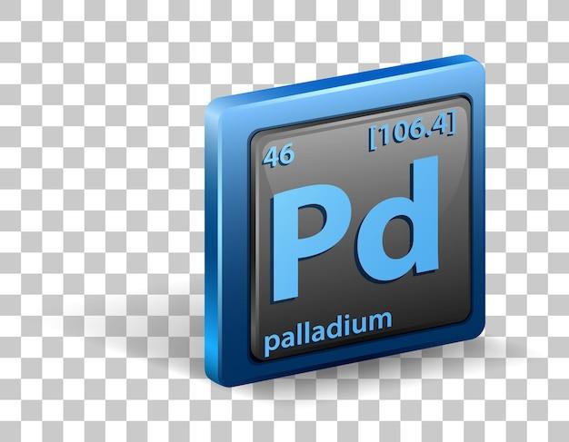 Pierwiastek chemiczny palladu. symbol chemiczny z liczbą atomową i masą atomową.
