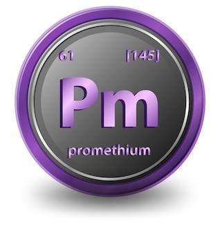Pierwiastek chemiczny prometu. symbol chemiczny z liczbą atomową i masą atomową.