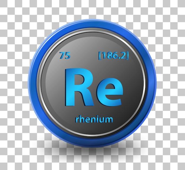 Pierwiastek chemiczny renu. symbol chemiczny z liczbą atomową i masą atomową.