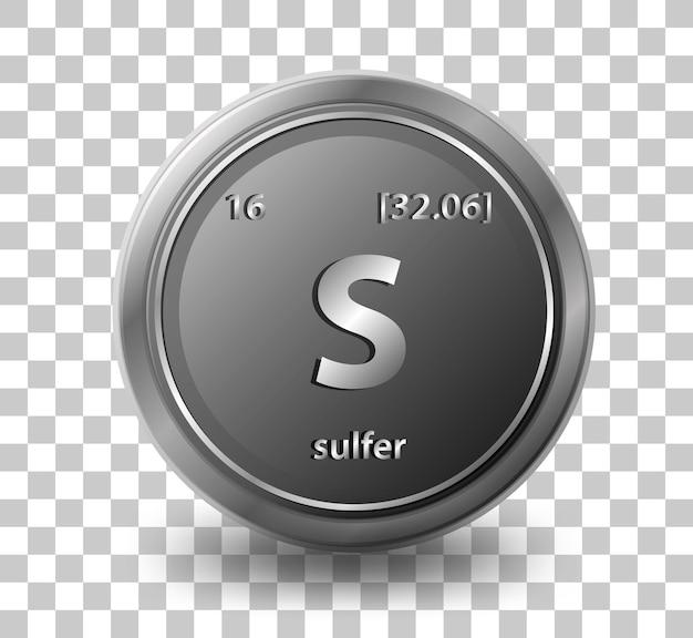 Pierwiastek chemiczny siarki. symbol chemiczny z liczbą atomową i masą atomową.