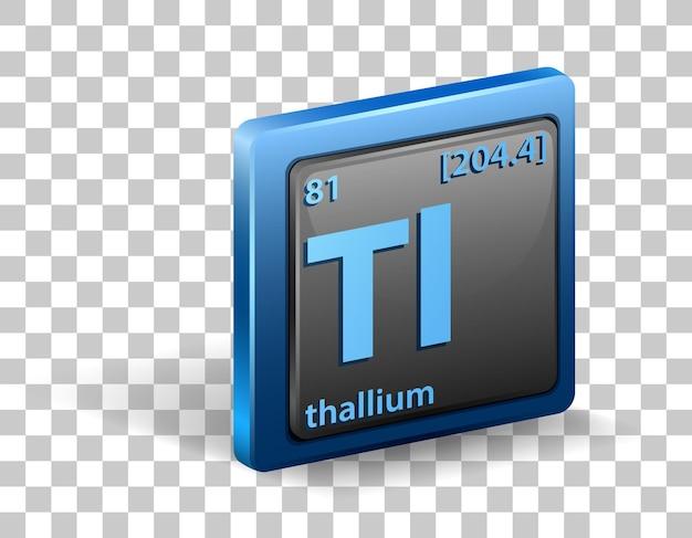 Pierwiastek chemiczny talu. symbol chemiczny z liczbą atomową i masą atomową.