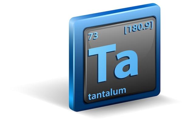 Pierwiastek chemiczny tantalu. symbol chemiczny z liczbą atomową i masą atomową.