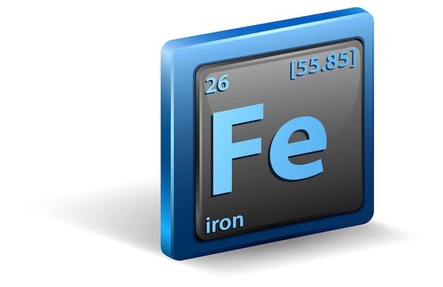 Pierwiastek chemiczny żelaza. symbol chemiczny z liczbą atomową i masą atomową.