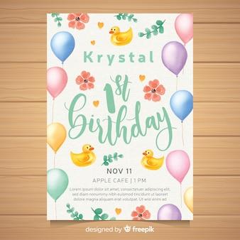 Pierwsza kartka zaproszenie na przyjęcie urodzinowe