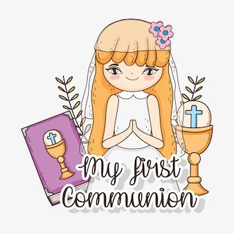 Pierwsza komunia dziewczyny z kielichem i kielichem