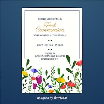 Pierwsza komunia kwiatowy zaproszenie