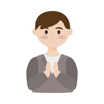 Pierwsza komunia śliczny chłopiec modli się