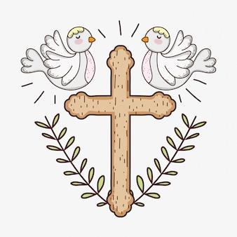 Pierwsza komunia z krzyżem i gołębie z liśćmi gałęzi