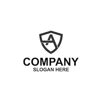 Pierwsza litera a tarcza logo premium