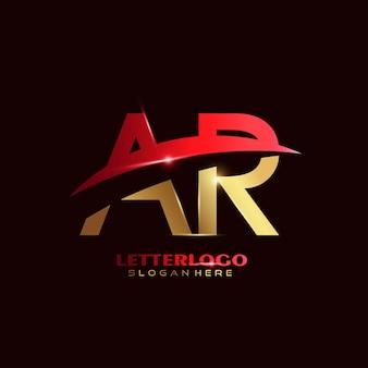 Pierwsza litera ar logotyp z projektem swoosh dla logo firmy i biznesu.