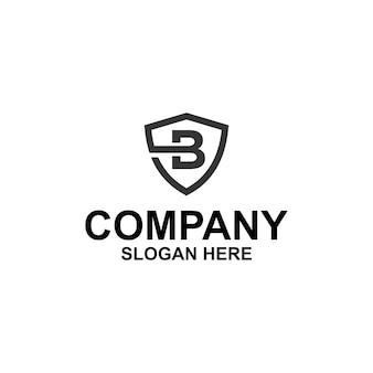 Pierwsza litera b tarcza logo premium