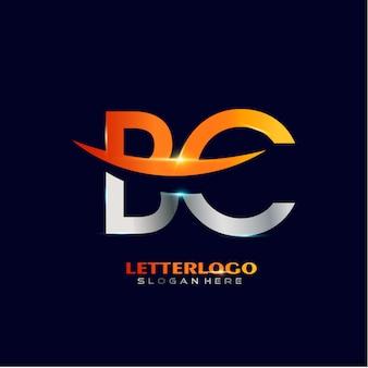 Pierwsza litera bc logotyp z projektem swoosh dla logo firmy i biznesu.