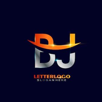 Pierwsza litera bj logotyp z projektem swoosh dla logo firmy i biznesu.