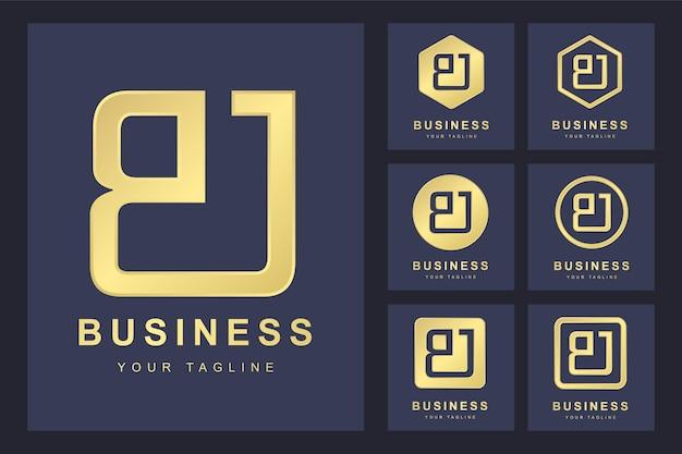 Pierwsza litera bj z kilkoma wersjami, elegancki złoty szablon logo