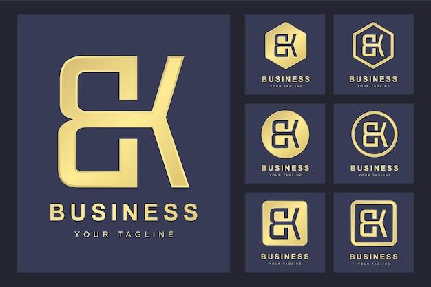 Pierwsza litera bk z kilkoma wersjami, elegancki złoty szablon logo