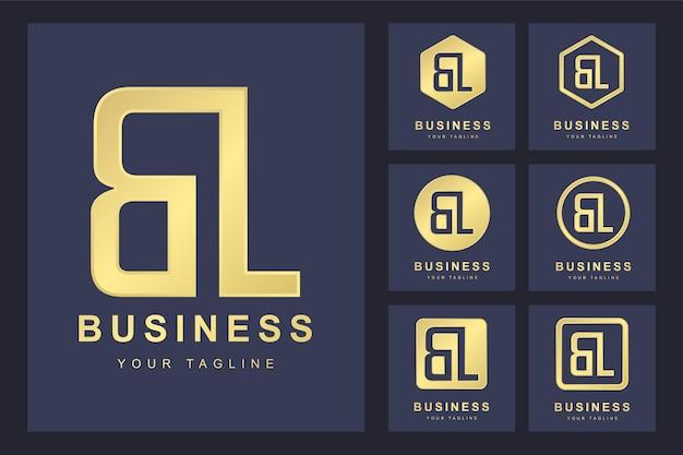 Pierwsza litera bl z kilkoma wersjami, elegancki złoty szablon logo
