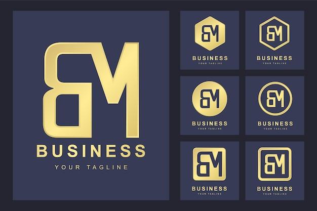 Pierwsza litera bm z kilkoma wersjami, elegancki złoty szablon logo