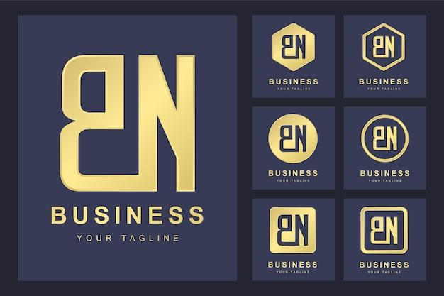 Pierwsza litera bn z kilkoma wersjami, elegancki złoty szablon logo