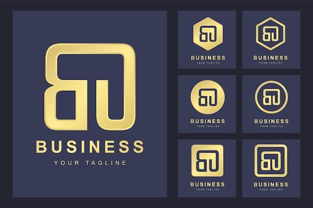Pierwsza litera bo z kilkoma wersjami, elegancki złoty szablon logo