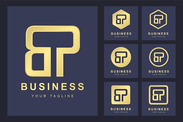 Pierwsza litera bp z kilkoma wersjami, elegancki złoty szablon logo