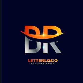 Pierwsza litera br logotyp z projektem swoosh dla logo firmy i biznesu.