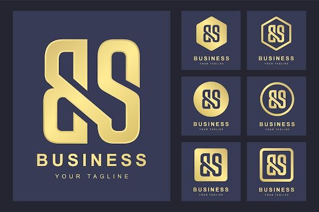 Pierwsza litera bs z kilkoma wersjami, elegancki złoty szablon logo